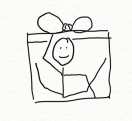 Person in a tiny gift box